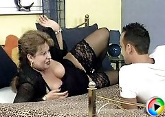 Young horny guy spreads grandma's pussy open wide and stuffs his cock inside