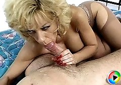 Young fellow pleased by a busty mature slut