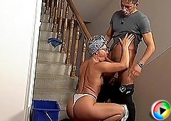 Nasty grandmother fucks young stud on the stairs