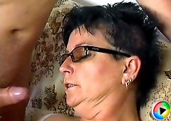 Slut in glasses gets a mouthful of dick and then a pussyful of the same dick