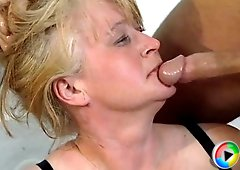 Mature blonde goes for a hot blowjob and ends up getting fucked hard