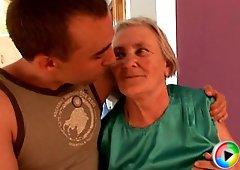 Sexy granny swallows some younger stud cock