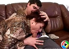 Cock-hungry mommy polishing young guy�s dick with her mouth