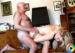 Fat grandpa sticks his rod all the way into young bootylicious blondie�s twat