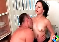 Cute girl pleasures her older lover like a real slut by sucking his mature dick before getting on all fours and receiving it from behind
