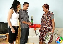 He meets his future mother in law and as soon as her daughter leaves the old babe seduces him